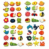 #8: Kuhu Creations® Supreme Fridge Magnet Wooden Stickers in Vivid Color Cute and Beautiful. (Vivid Color Thin Shapes 48 Pcs)