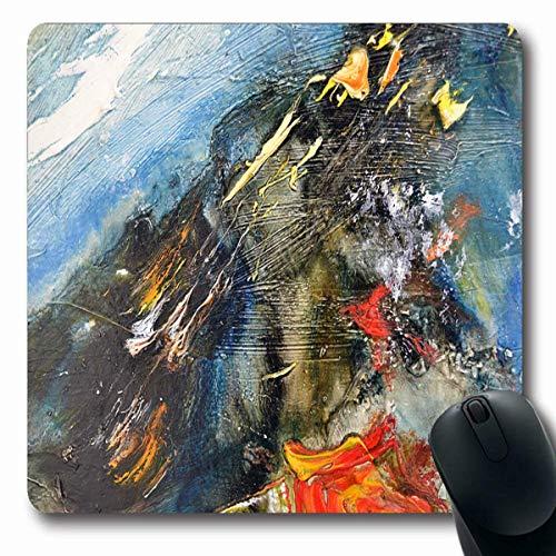 Mousepads Helle abstrakte zeitgenössische Moderne Malerei-Öl auf Leinwand Natur Brushstroke-Farben, die rutschfeste Spiel-Mausunterlage zeichnen Gummilangmatte - Moderne öl-malerei