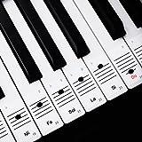 Faburo 2pcs Pegatinas Para Notas musicales transparentes Etiquetas Engomadas Para Teclado de piano 54,61,88 y 2pcs Trapos de