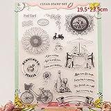 Dabixx Bike und Rotwein Clear Stamps Blätter Transparent Silikon Dichtung für DIY Scrapbooking Handwerk Karte Fotoalbum Dekorative 19.5x23.5cm / 7.67x9.25