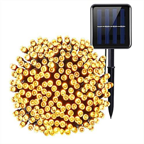 Solarbetriebene Lichterketten, (200 LED, 8 Modi) Solar-LED-Lichterkette, 72Ft/22M Solar-Lichterkette, Wasserdichte Außenbeleuchtung Für Garten, Party, Zuhause, Weihnachten, Terrasse (Warmweiß)