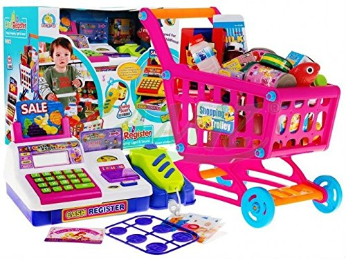 Kinder Registerkasse Mit Rechner + Einkaufskorb - Rosa