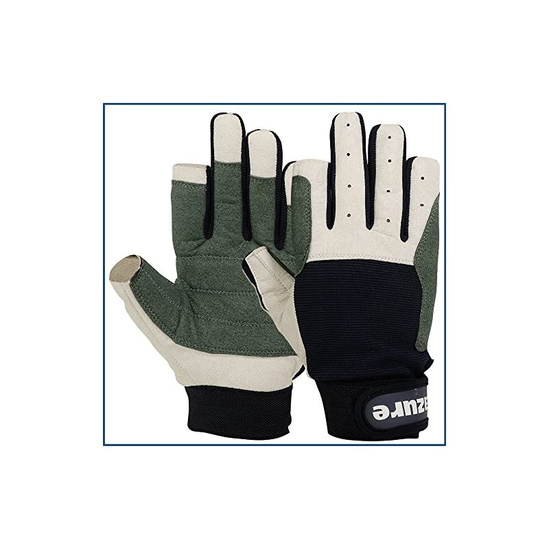 Strong Amara Navy Blue Sailing Gloves Enforced Palm Breathable Glove For Boating, Fishing, Kayaking, Canoeing, Skiing…
