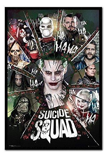 Suicide Squad Circle poster Nero con cornice & Raso Matt Laminato-96.5x 66cms (circa 96,5x 66cm)