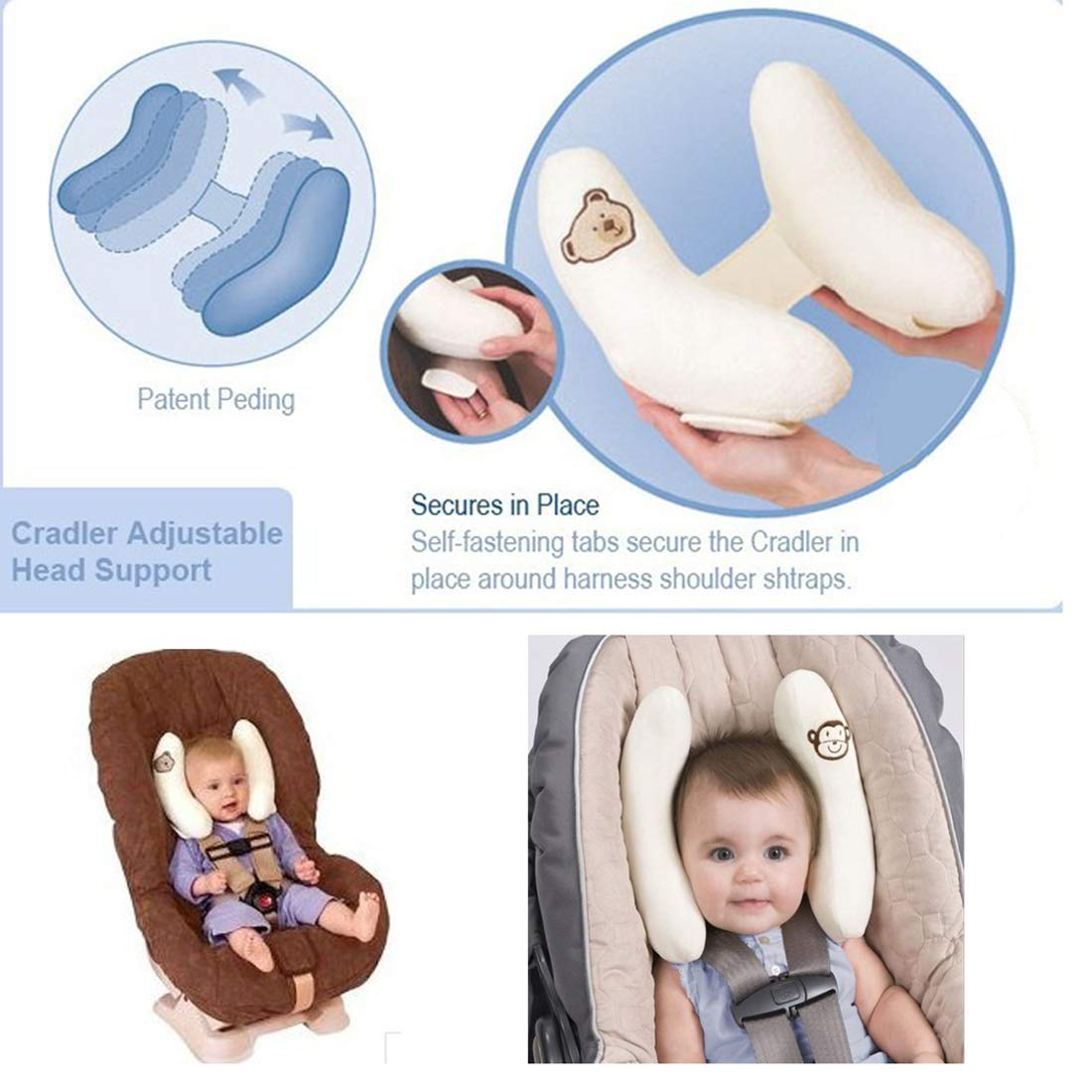Baby Child Head Neck Support Car Seat Pillow Headrest for 1-4 Years Kids