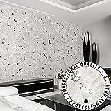 PURO TAPETE - Realistische Tapete ohne Rapport und Versatz ! Kein sich wiederholendes Muster ! 10m VLIES Tapetenrolle ! Diamant Ornament f-A-0195-j-a