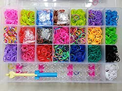 MG Rainbow Color DIY Loom Band Kit with 4200 Colourful Rubber Bands .