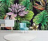 Papel Pintado Art Foto Mural Hojas Flor Loto Retro Papel Tapiz Fotográfico Personalizado 3D Murales Grandes Sofá Dormitorio Moderno Pintura Mural Decoración Para El Hogar - 430x300CM(LxH)-XXXL