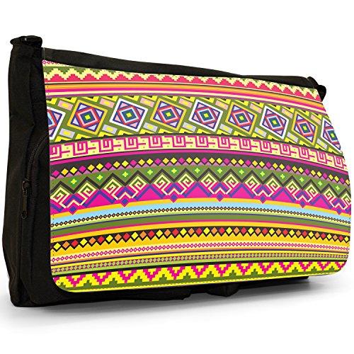 Messicano Azteco Tribale modelli tradizionali–Borsa Tracolla Tela Nera Grande Scuola/Borsa Per Laptop Green Pink Yellow Indigenous