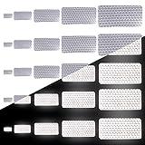 Tuqiang Rechteckige Form Reflektierendes Klebeband Wasserdicht Selbstklebend Für Buggy und Kinderwagen Motorradhelm Hohe Sichtbarkeit Band Sicherheit im Freien Reflektierend Aufkleber 25 Stück Weiß