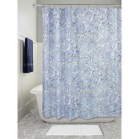 InterDesign Paisley Duschvorhang | dekorativer Badewannenvorhang in 183,0 cm x 183,0 cm | tolles Duschvorhang Design mit Paisley-Muster| Polyester blau