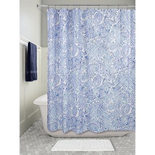 InterDesign Paisley Duschvorhang | Dekorativer Badewannenvorhang in 183,0 cm x 183,0 cm | Tolles Duschvorhang Design mit Paisley-Muster| Polyester Blau (Designer Stoff Vorhänge Mit Muster)