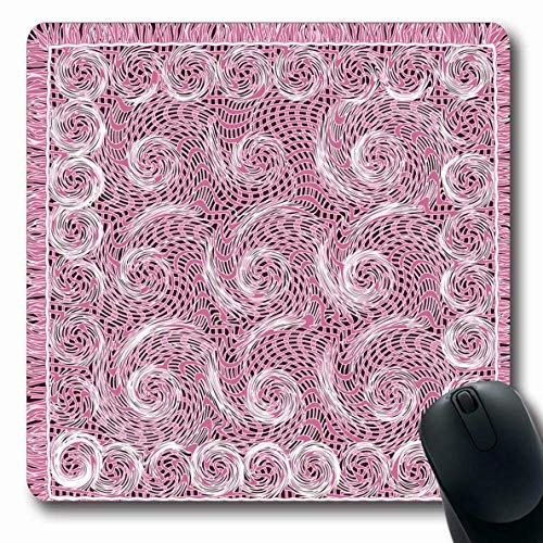 Luancrop Mousepads Violette lila abstrakte Webart-Spitze gestreifte gewirbelte Servietten-Garne Rand-Segeltuch-Teppich-Karierte Locken-rutschfeste Spiel-Mausunterlage Gummi-längliche Matte - Gestreifte Spitze