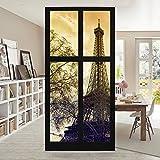 Raumteiler - Fenster Sonnenaufgang Paris Eiffelturm 250x120cm | Schiebegardine Schiebevorhang Raumtrenner Vorhang Raumteiler Gardine Paravent Wandbild XXL Deko Dekor | Größe HxB: 250x120cm inkl. transparenter Halterung