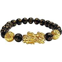 Shubhanjali® Black Onyx Om Mani Pixiu Dragon Bracelet for Men and Women Natural Black Onyx Stone Golden Pi Xiu Charm…