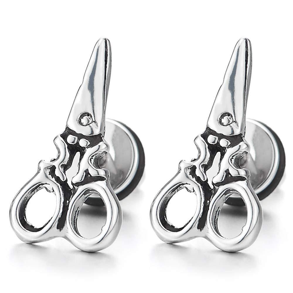Stainless Steel Mens Womens Vintage Scissors Stud Earrings, Screw Back, Retro Style, 2pcs