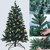 PROHEIM Premium Voll-PE Weihnachtsbaum mit LED Belechtung inkl. Standfuß künstlicher Tannenbaum mit Stecksystem 100% aus PE Spritzguss Christbaum B1 schwer entflammbar Größe wählbar, Größe:120 cm