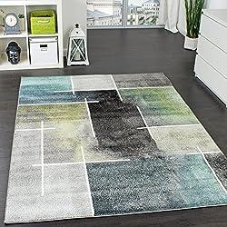 Paco Home Tapis Design Moderne Trendy Moucheté Tape l'oeil Turquoise Vert Gris Anthracite, Dimension:120x170 cm