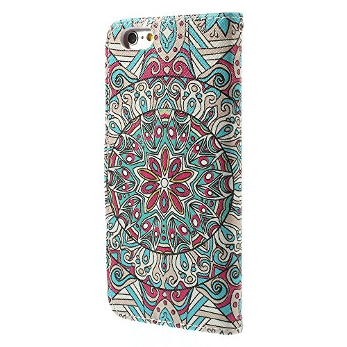 iPhone 6 6S Hülle Klapphülle von NICA, Slim Flip-Case Kunst-Leder Vegan, Phone Etui Schutzhülle, Dünne Vorne Hinten Handytasche Wallet Bumper für Apple iPhone 6S 6 - Pretty Roses Edition Fantastic Mandala Edition