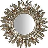 Biscottini Specchio Specchiera da Appendere diam.43x2 cm in Resina Finitura Argento Anticato