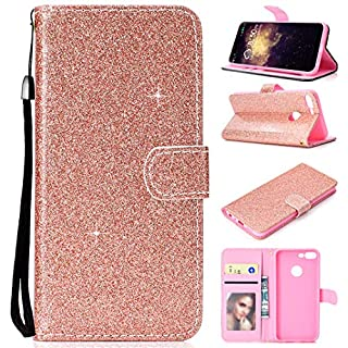 Amcor Love Luxury Bling Glitter PU Leather Flip Case with Card Slots, Magnetic Tab and Stand for Huawei Honor 9 Lite, women's, Huawei Honor 9 Lite, Rose Gold
