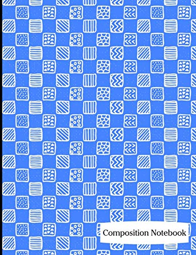 Composition Notebook: Bright Blue Square Pattern Composition Notebook - 8.5
