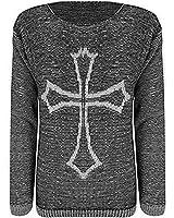 Ladies Big Panda Skull Cross Bones Print Knitted Jumper Womens Sweater Top 8-14
