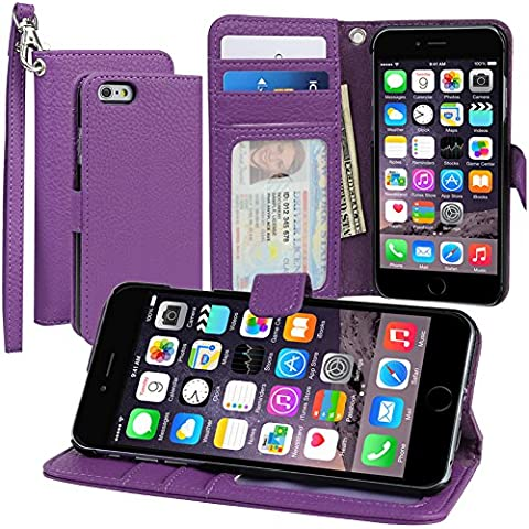 Evecase iPhone 6 Portafoglio custodia in PU pelle con supporto per Apple iPhone 6 4.7