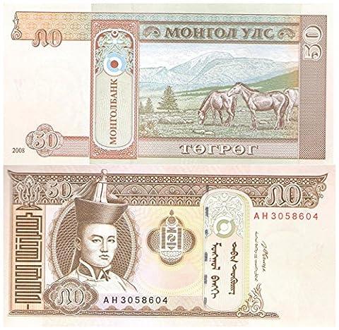 50 Tugrik Mongolei 2000-2008 Design -Banknote für Sammler / UNC / Perfekte Qualität
