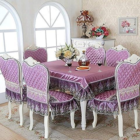 5/7-Stück Luxus Tischdecke Set imitiert Seide Spitze Tischdecke Stuhl Abdeckung für Esszimmer Tisch decken Tischwäsche, Lila, 5 piecs eingestellt