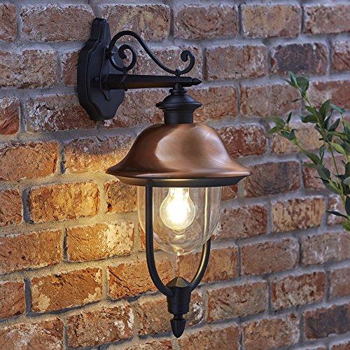 Farol Apliqué Mural Colgante Exterior Tradicional de Color Negro con Cobre y Una Bombilla LED de 4W con Filamentos Iluminación IP44 Resistente al Agua Luminaria para Jardín Balcón o Patio
