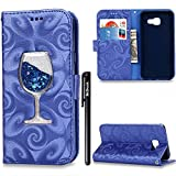 BtDuck Leather Case for Lady Girl Samsung Galaxy A3 2016 A310 Fluorescent blue Glitter Cocktail Navy blue Liquid Shell Red Wine Glass Bling Bling PU Stand Pattern Phone Protector women PU Leather Flip Folio Cover Anti-slip Skin Outdoor Protection Simple Strict Shockproof Heavy Duty Robust Bumper Case Shell with Stander Oyster Card ( Travel Card Bus Pass ) Holder Slots Pocket Kickstand Function Magnetic Closure + 1 * Black Stylus Pen Black