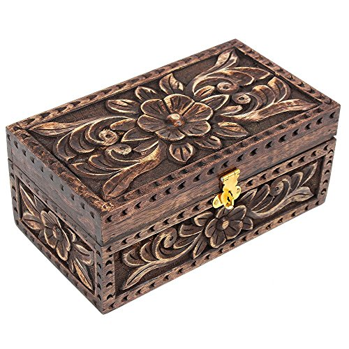 Store Indya Aufbewahrungsbox für Schmuck, Mangoholz, geprägtes Blumenmuster, Moos-Finish, rechteckig, für Andenken, Tisch Zubehör -