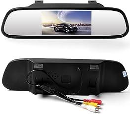 Pantalla LCD digital TFT a color de 4,3 pulgadas, de WZMIRAI. Monitor de apoyo de vista posterior de alta resolución. 16:9, para DVD / VCR / Cámara de marcha atrás de coche (compatible con PAL/NTSC/entradas de vídeo de 2 vías/DC 12 V)