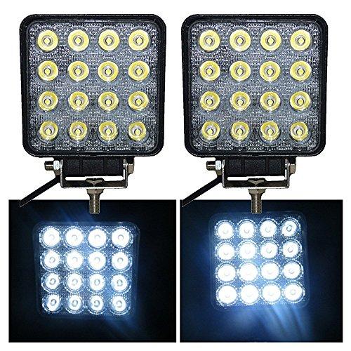 VINGO® 48W LED Arbeitsscheinwerfer Flutlicht Offroad (2x) - Atv Akku-halterung
