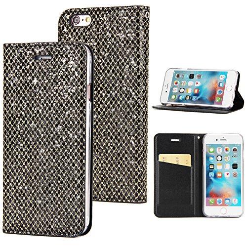 Preisvergleich Produktbild Sycode Elegant Edel Stilvoll Luxus Schwarz Glitzer PU-Leder Buchstil Wallet Brieftasche Schutzhülle Etui für iPhone 6S / 6 (4.7 Zoll)-Schwarz