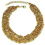 Collar moderno de buena calidad, de cadenas finas oro con perlas doradas, acero inoxidable, caja regalo.