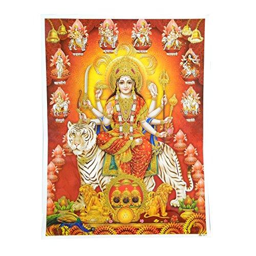 Bild Durga auf Tiger 30 x 40 cm Gottheit Hinduismus Kunstdruck Plakat Poster Gold Religion Spiritualität Dekoration