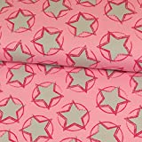 Stoffe Werning Baumwolljersey Stars in The Middle pink by