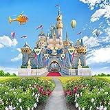 Camera dei bambini 3D Sfondo castello stereo Sfondo Carta da parati Cielo blu e nuvole bianche Erba verde Paesaggio Carta da carta da parati fotomurali murale Soggiorno camera da letto-300cm×210cm