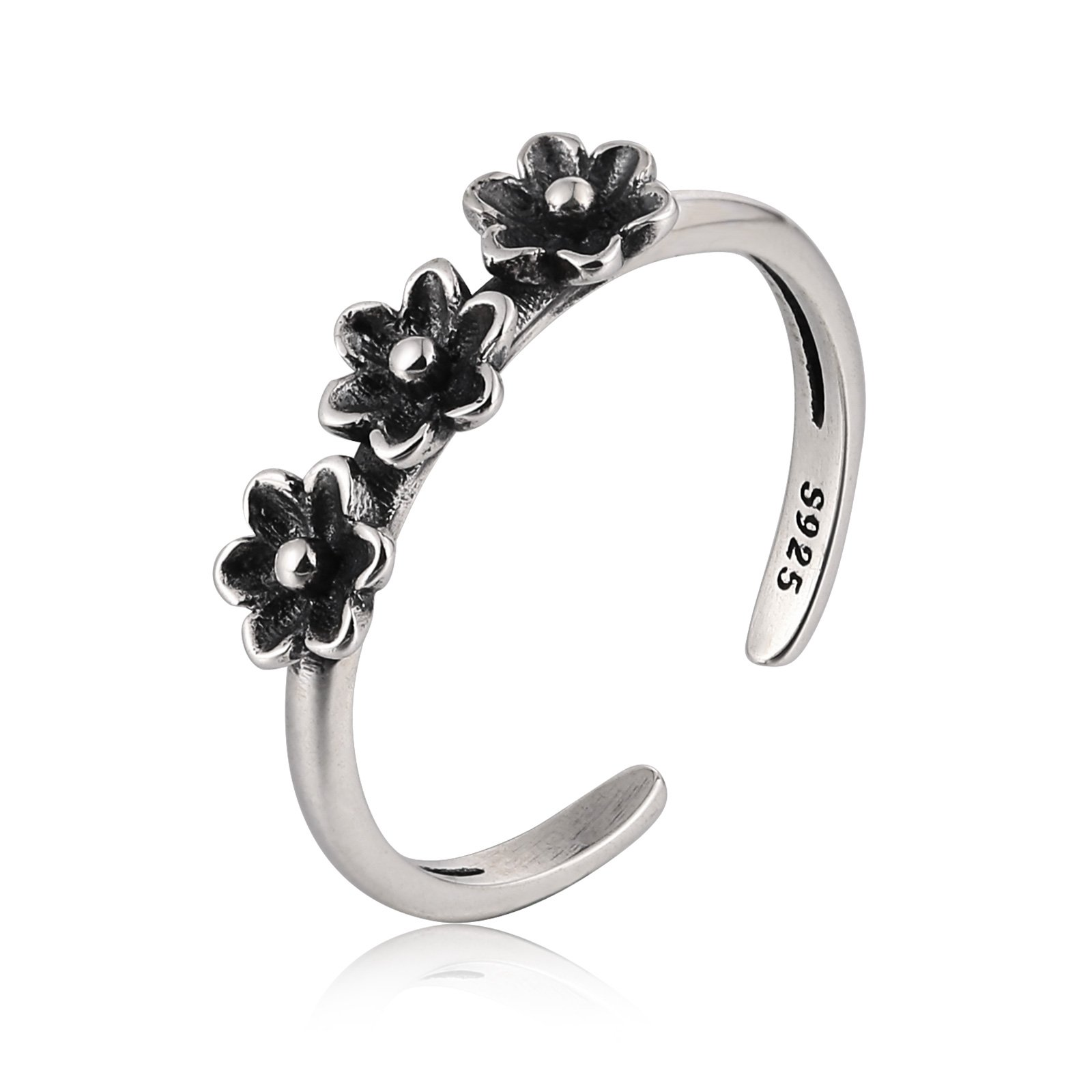 Gnzoe 925 Sterling Silver Daisy Flower Toe Ring Bands Foot Jewelry Adjustable Diameter 1.8CM