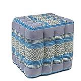 Sitzwürfel Stoffhocker Sitzkissen Bodenkissen Sitzhocker Fußhocker Cube Hocker Würfel Thai Motiv 40 x 40 x 40 cm Baumwolle Kapok, Farbe:Türkis