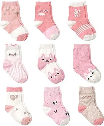 Cotton Coming Rose Coton Bébé Fille Chaussettes Naissance, 9 Paires Mignon Chaussettes pour bébés Filles
