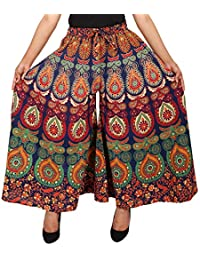 Jaipuri Fashionista Cotton Women's Regular Fit Jaipuri Printed Divider Palazzo Pant (Free Size)