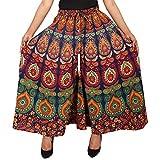 Jaipuri Fashionista Women's Cotton Regular Fit Jaipuri Printed Divider Palazzos, Free Size(Blue, 87-JFJP-MR-BRN-MAIN)