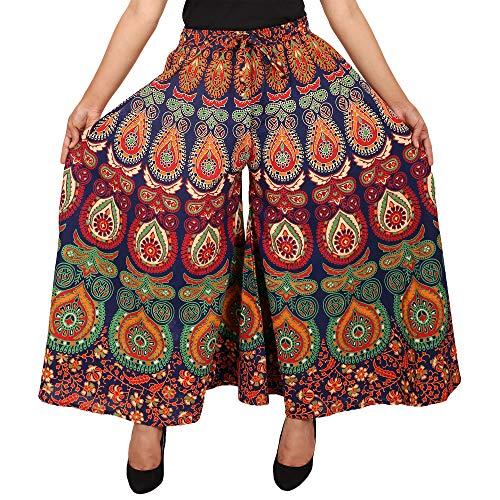 Jaipuri Fashionista Women's Cotton Palazzo Bottom (89JFJPMRMLT_Blue_Large)