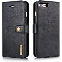 iPhone 5 5S SE Case,Premium [Magnetic Closure] Retro Vintage Detachable 2in1 Genuine Leather Card Slot Holder Folio Flip Wallet Removable PC Back Case with Kickstand Cover for iPhone 5/5S/SE - Black