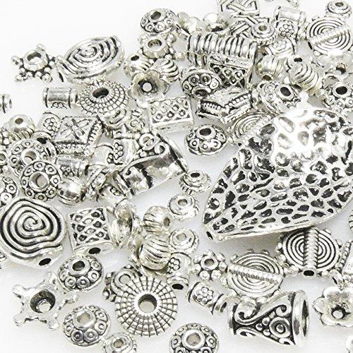 Bastelset Metallperlen Mix 131 St. Metall Beads Perlen silbern antik -293 Metall-perlen
