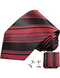 Paul Malone Krawatten Set 3tlg 100% Seide rot schwarz gestreift (Normallänge, Extralang oder schmal)