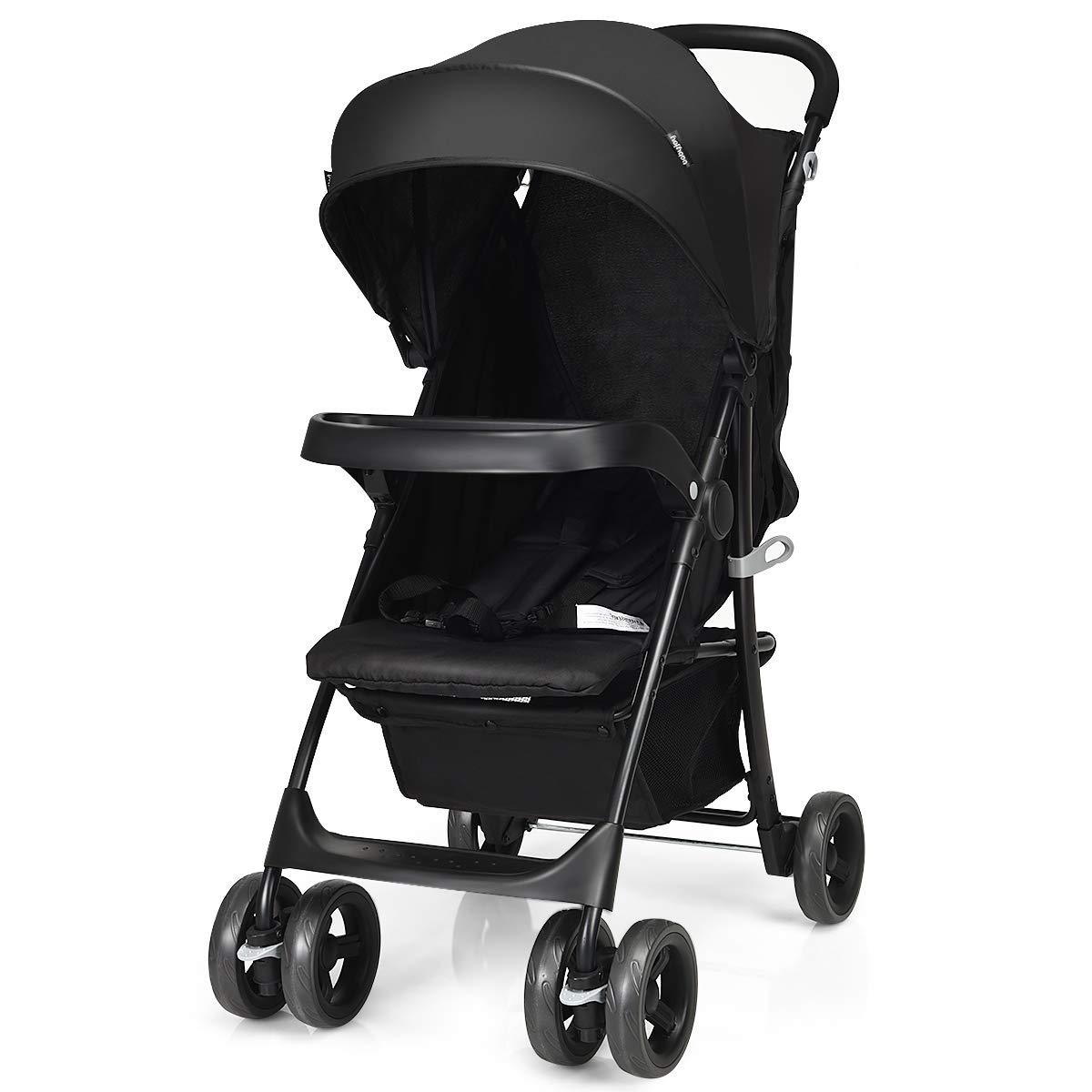 GYMAX Adjustable Stroller Black Detachable Snack Plate Lockable Wheels Foldable Baby Pram Pushchair with Storage Basket